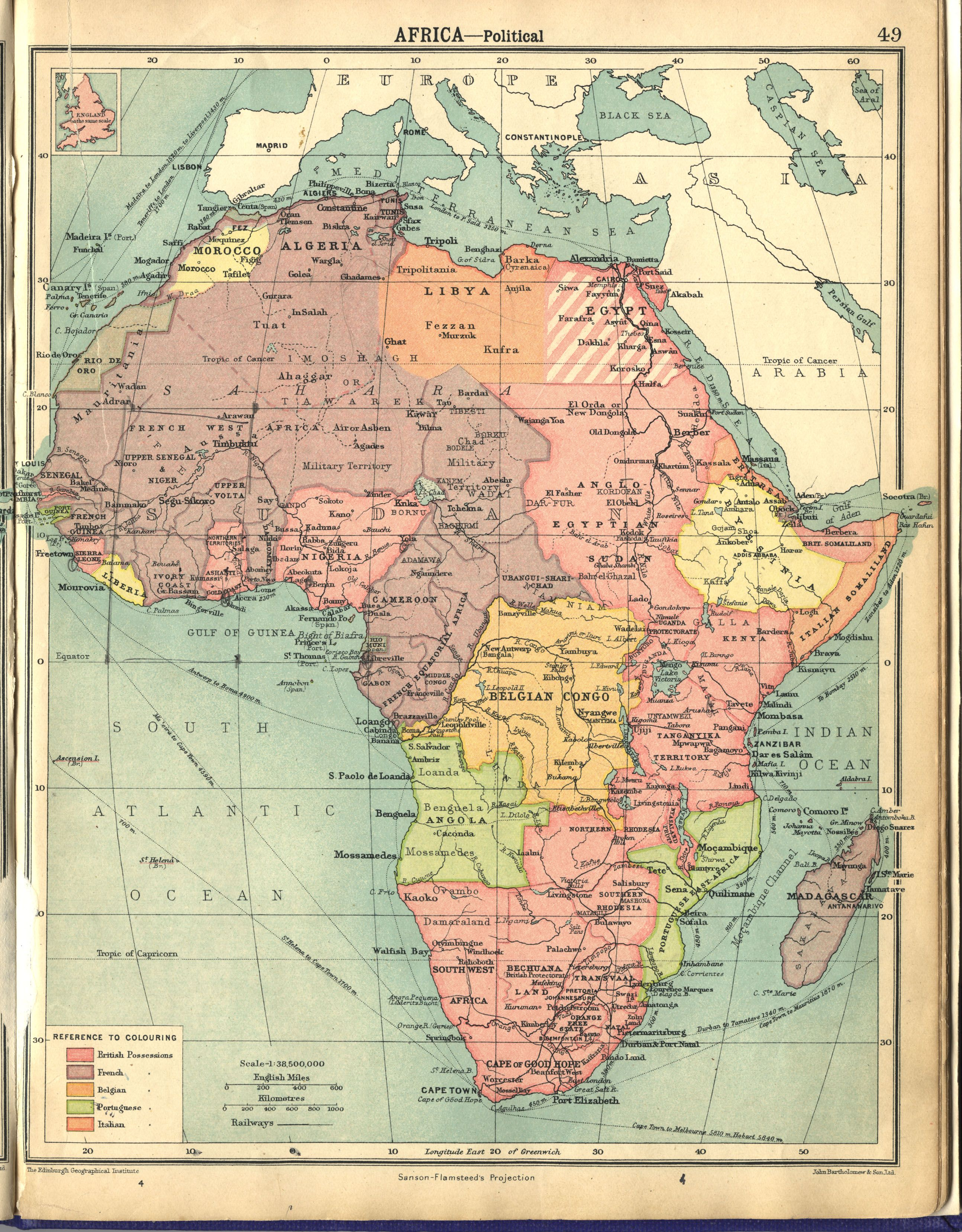 British Map of Colonial Africa 1922