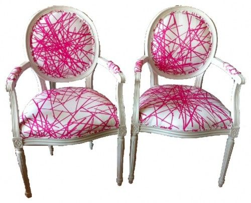 Refurbished Vintage Chairs With Neon Pink Upholstery