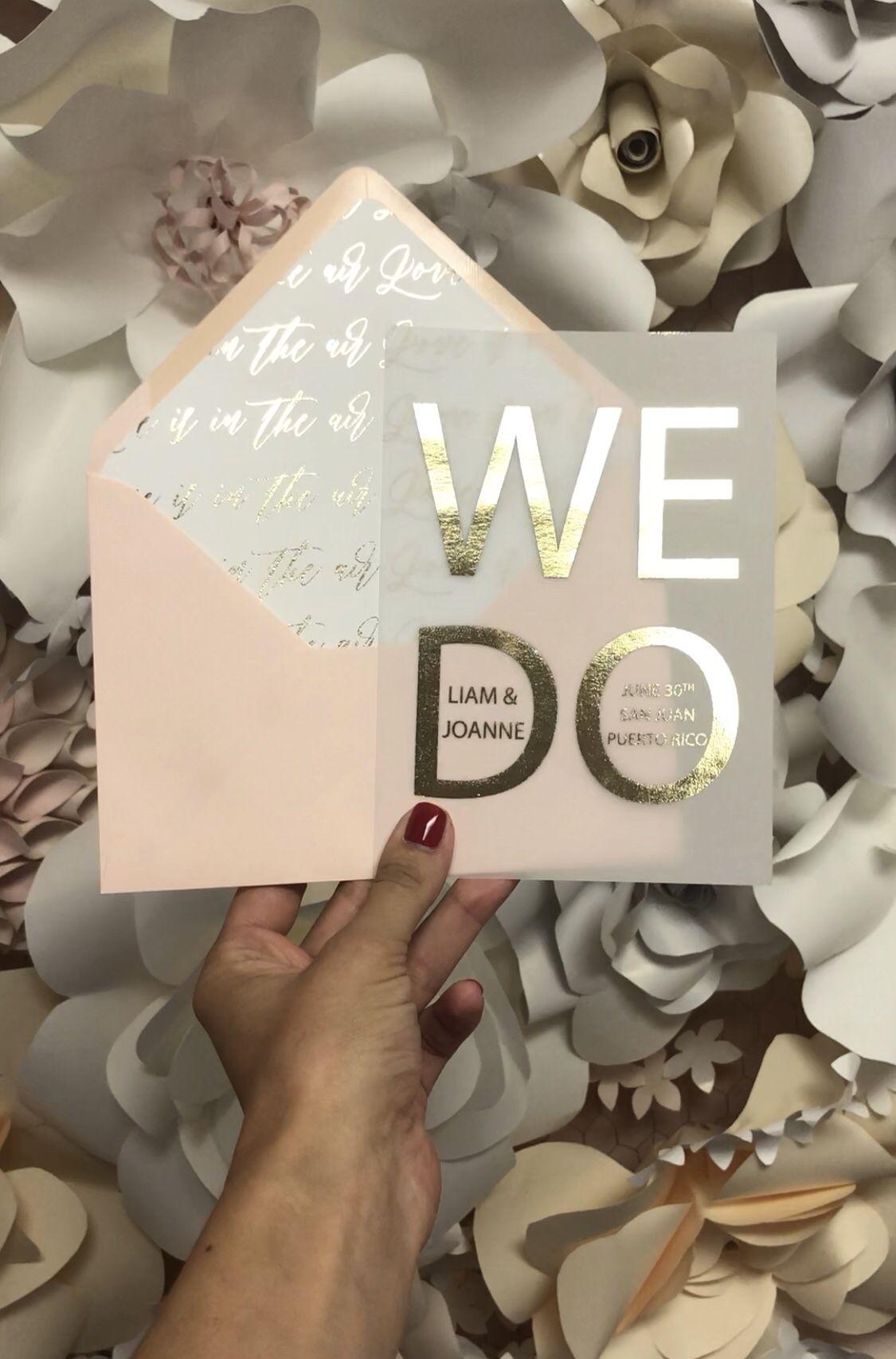 Gold Foil Printed On Vellum Paper Wedding Stationery Wedding
