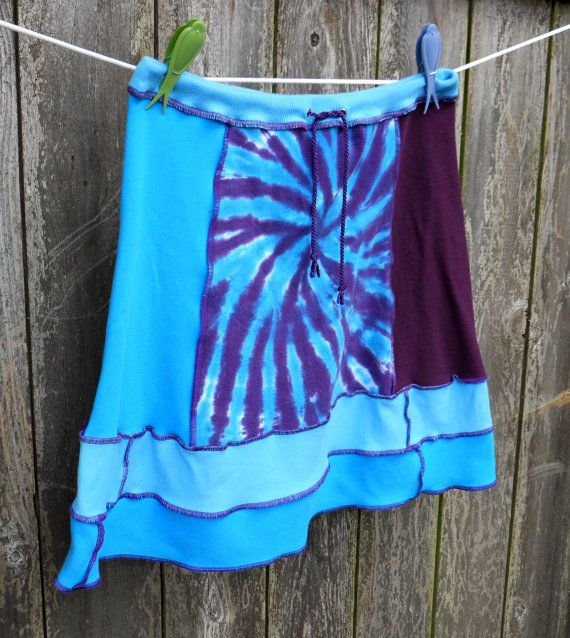 Recycled T-Shirt Skirt  Womens Tie-Dye Colorful Upcycled Turquoise Purple Tie Waist Ready to Ship