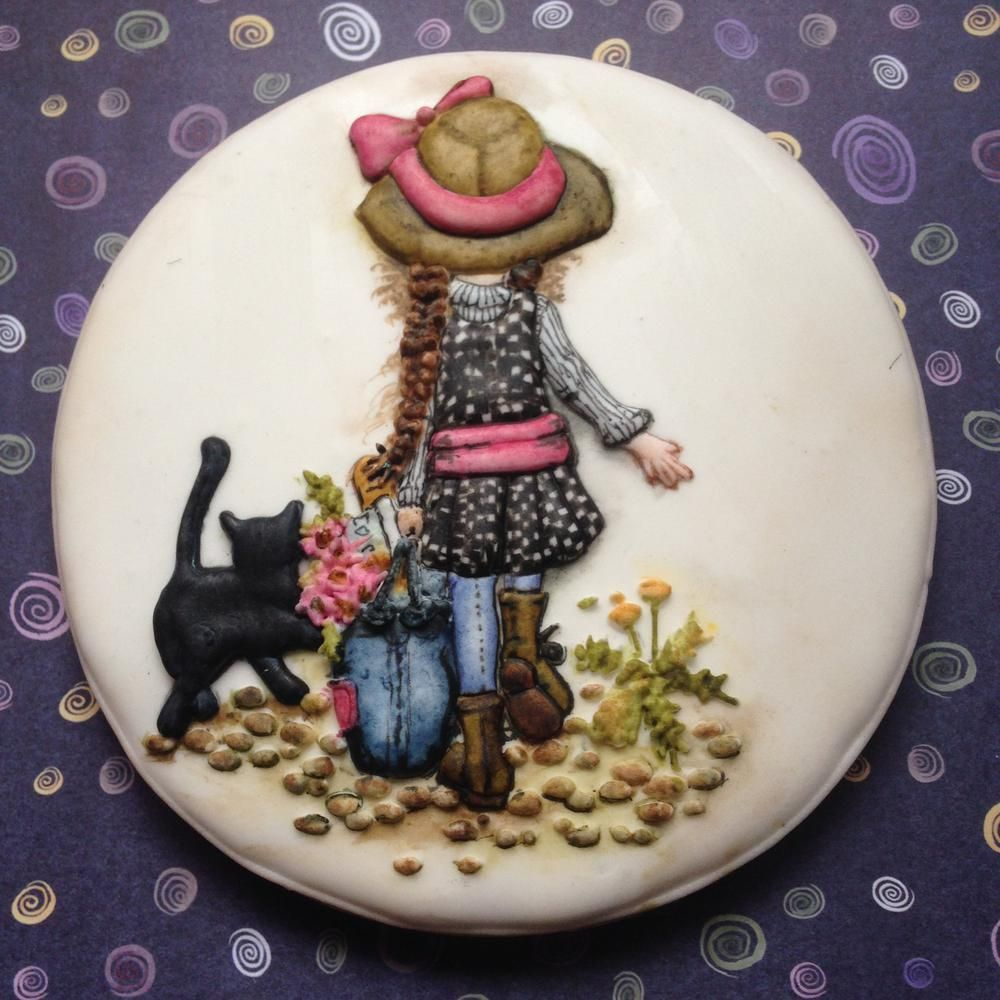 Little Girl with Black Cat by Evabella's Cookies - inspired by the artwork of Sarah Kay   Cookie Connection
