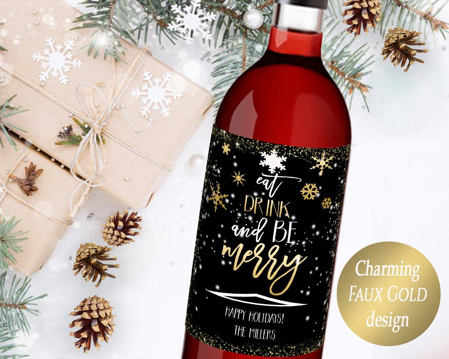 Holiday Wine Label Christmas Card Alternative Christmas Gift Personalized Christmas Wine L Holiday Wine Label Christmas Wine Label Christmas Wine Bottle Labels