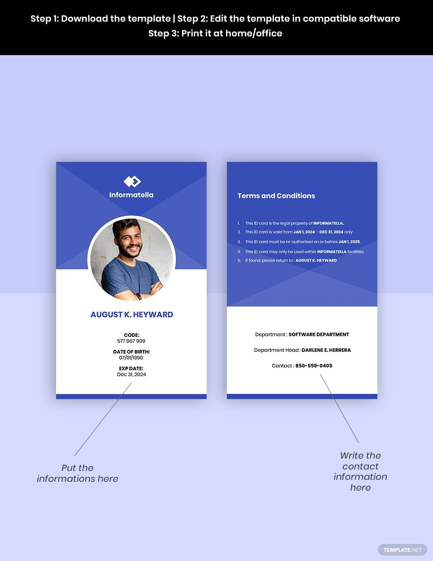 Sample It Company Id Card Template Word Psd Apple Pages Google Docs Illustrator Id Card Template Company Id Card Template