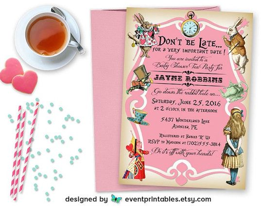 Alice In Wonderland Invitation Baby Shower Bridal Shower  Baby