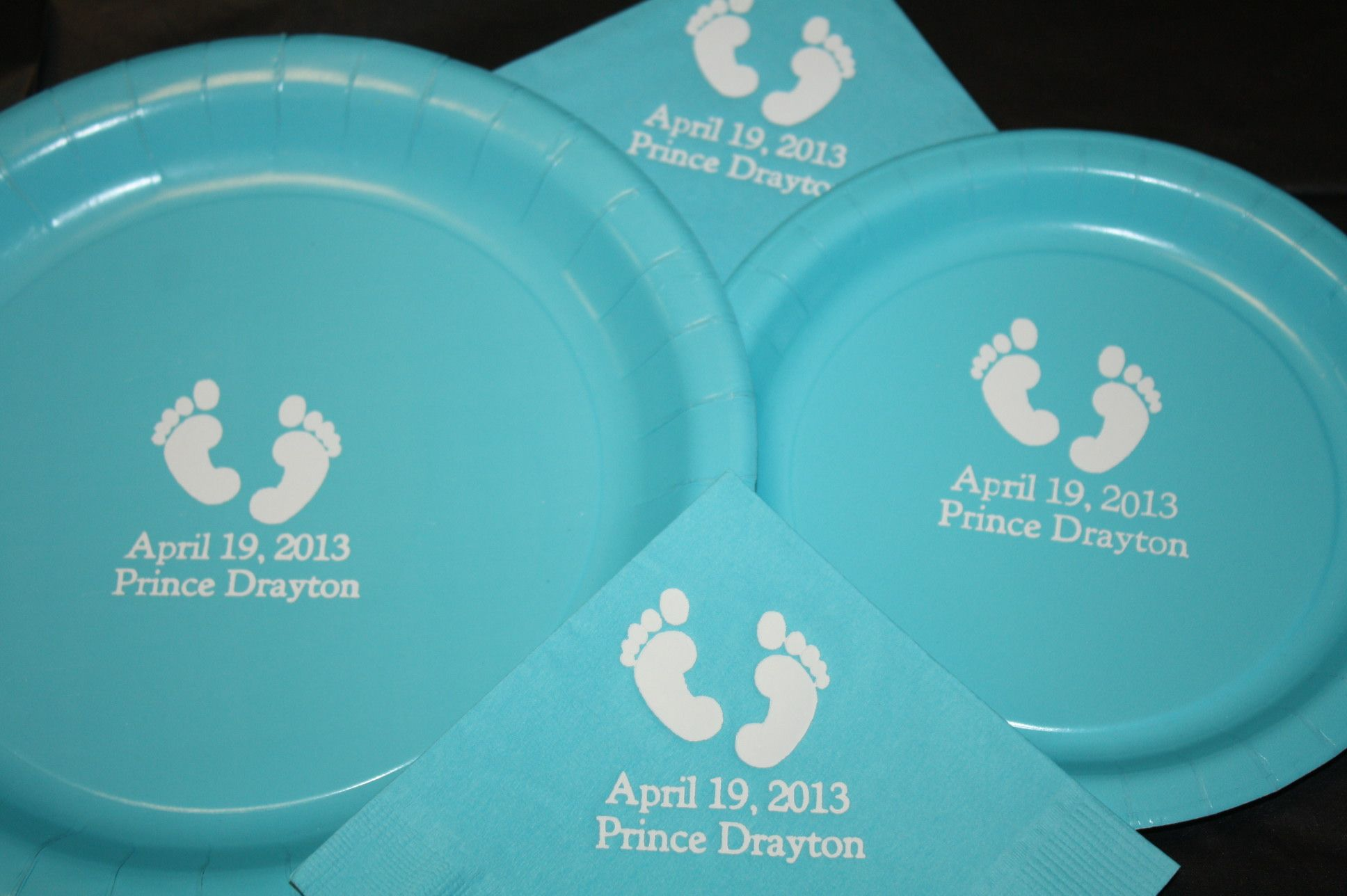 personalized baby shower bermuda blue and white paper plates and