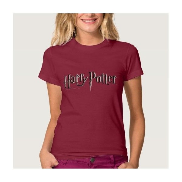 Harry Potter Logo T Shirts ($33) ❤ liked on Polyvore featuring tops, t-shirts, logo t shirts, red t shirt, red tee, red top and logo tee