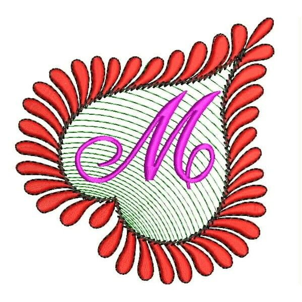 Heart Alphabets M Embroidery Design Embroidery Designs Alphabet Embroidery
