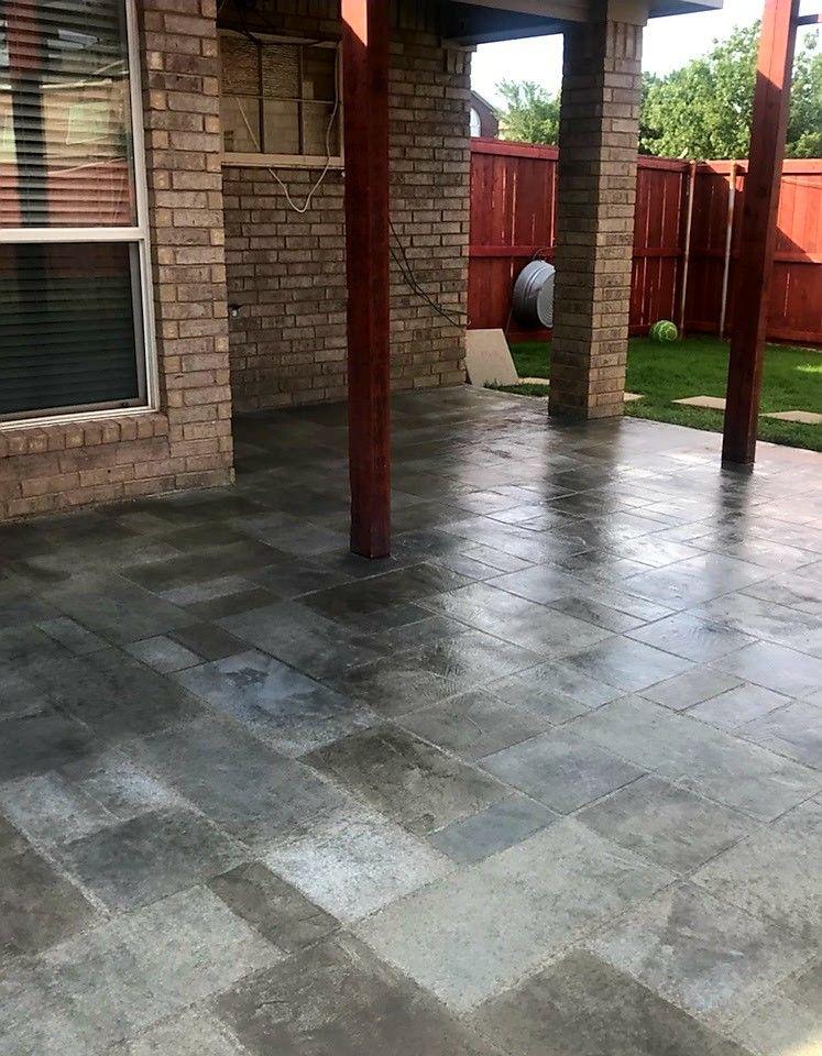 Make Your Concrete Great Again Call 866 943 1381 With Cti Concrete We Resurfaced This Patio Random Gray Tile Design Prov Concrete Decor Pool Decks Patios