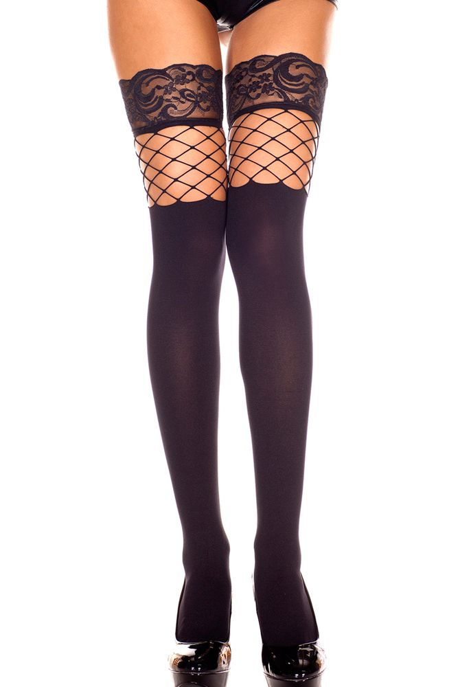 e027eb740 Sexy Black Spandex Thigh-Hi Stockings w  Fishnet and Lace At