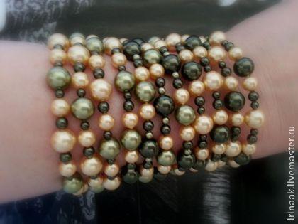 """Браслет""""Лето"""" 0514 - тёмно-зелёный,зелёный с золотом,браслет,зелёный браслет"""