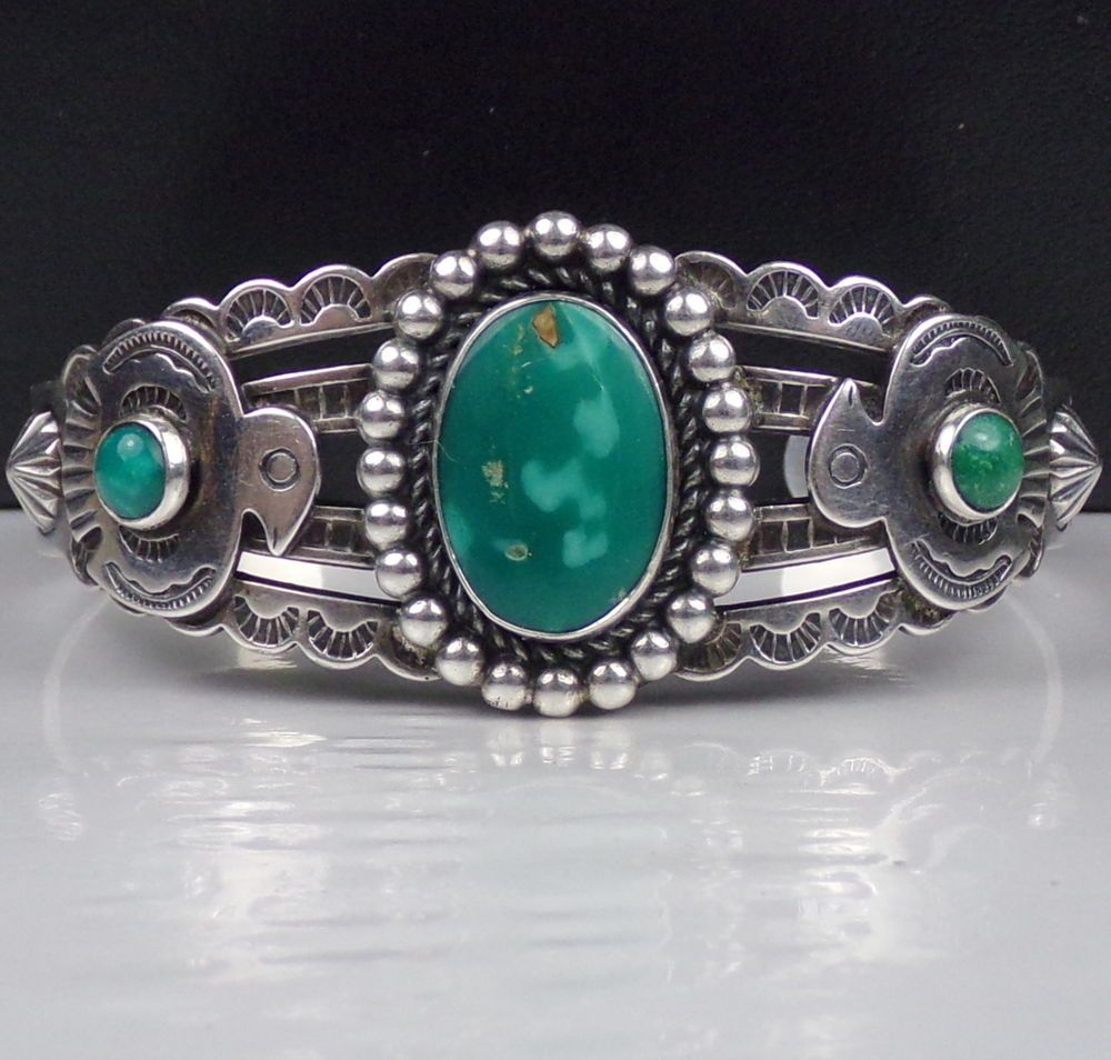 Old Bell Harvey Era Sterling Silver Cuff Bracelet Turquoise Trading Post Navajo #Bell