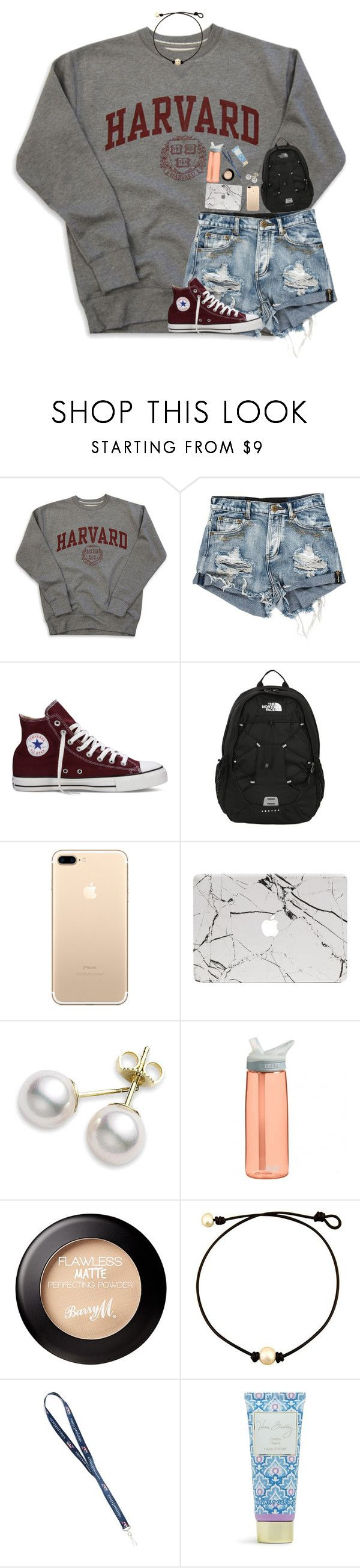 """""""french exam tomorrow"""" by harknessl ❤ liked on Polyvore featuring Converse, The North Face, Mikimoto, CamelBak, Vera Bradley and preppybylauren"""