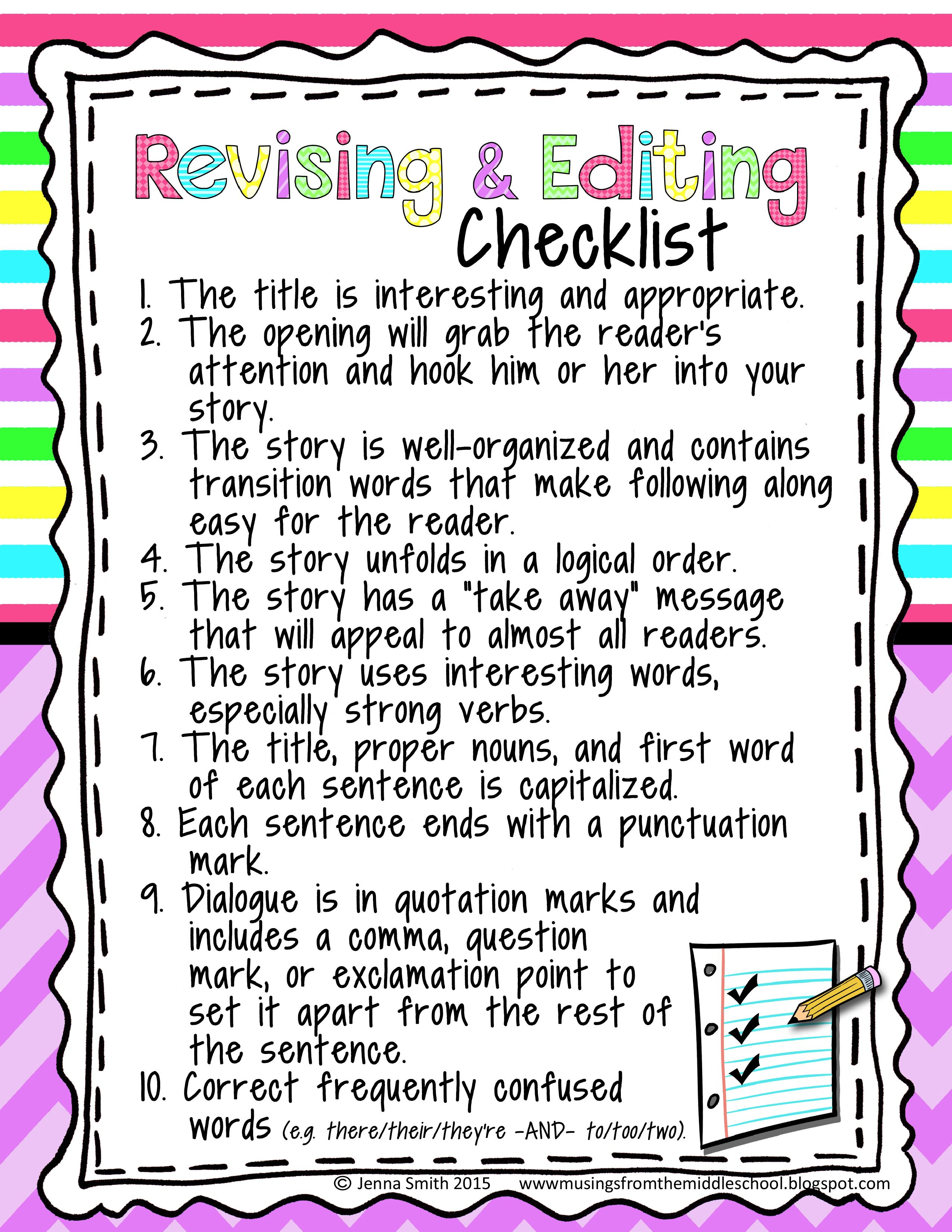 Revising And Editing Checklist For Upper Grades