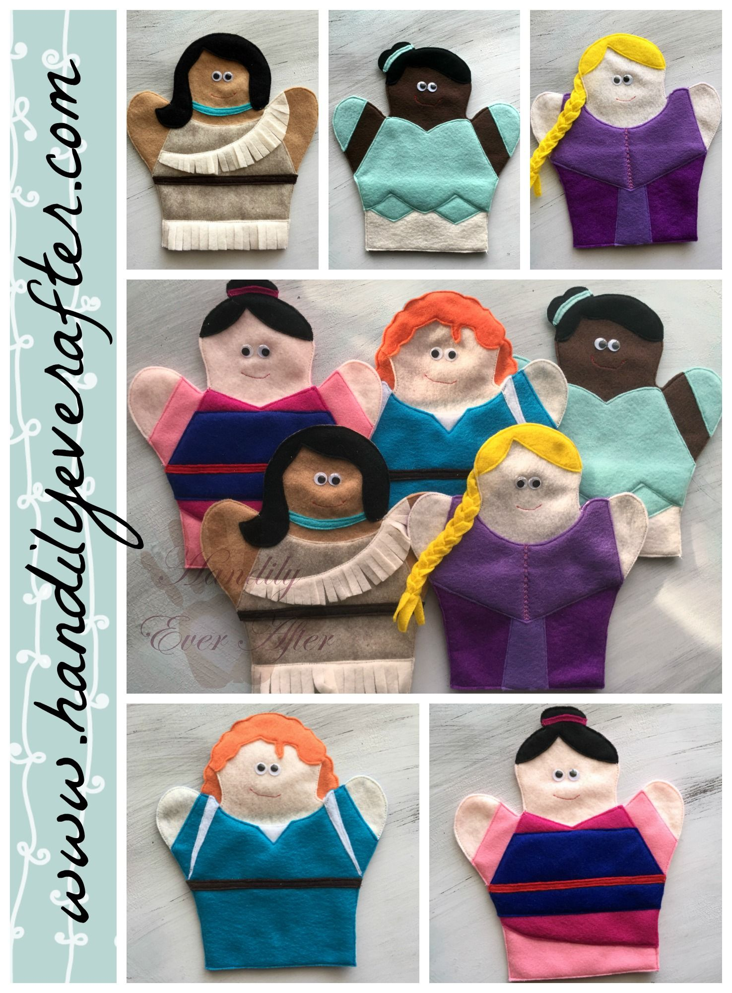 Princess Hand Puppets Set 2-PATTERN ONLY (Instant Download)