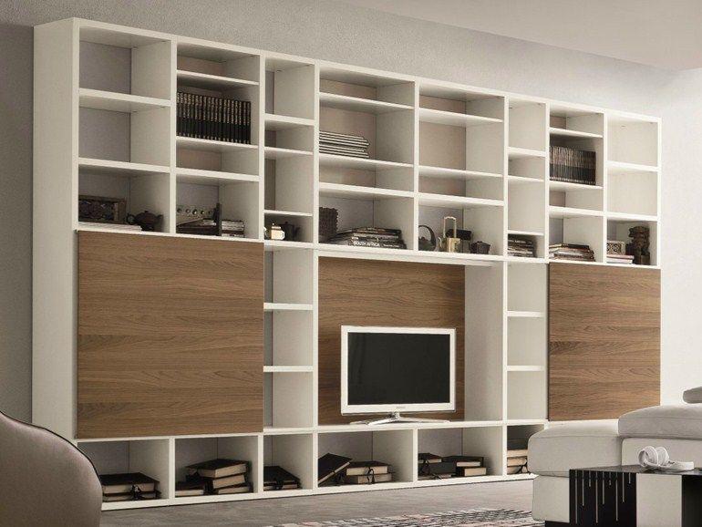 Mueble modular de pared lacado con soporte para tv SPEED O Colección