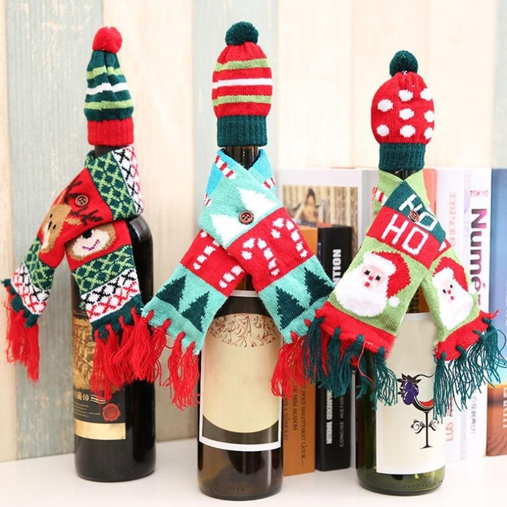 Xmas Knitted Tassel Scarf Hat Wine Bottle Cover Wine Bottle Christmas Decorations Christmas Wine Bottle Covers Christmas Wine