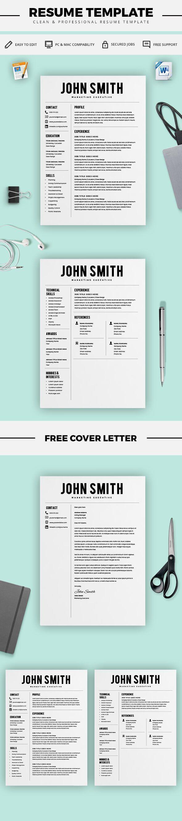 Resume Template - Resume Builder - CV Template + Cover Letter - MS ...