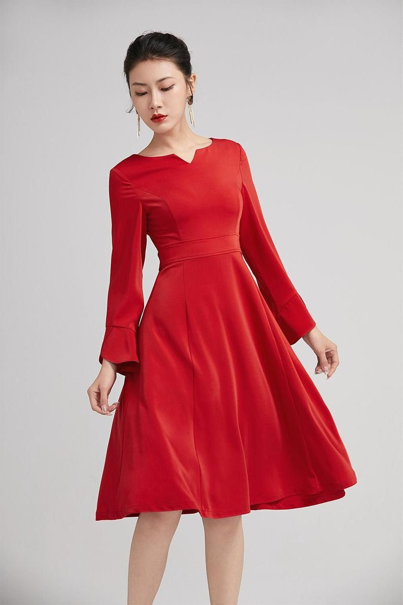Red Dress For Women Fitted A Line Swing Dress Midi Dress Etsy Red Dress Women Red Dress Dresses [ 1191 x 794 Pixel ]