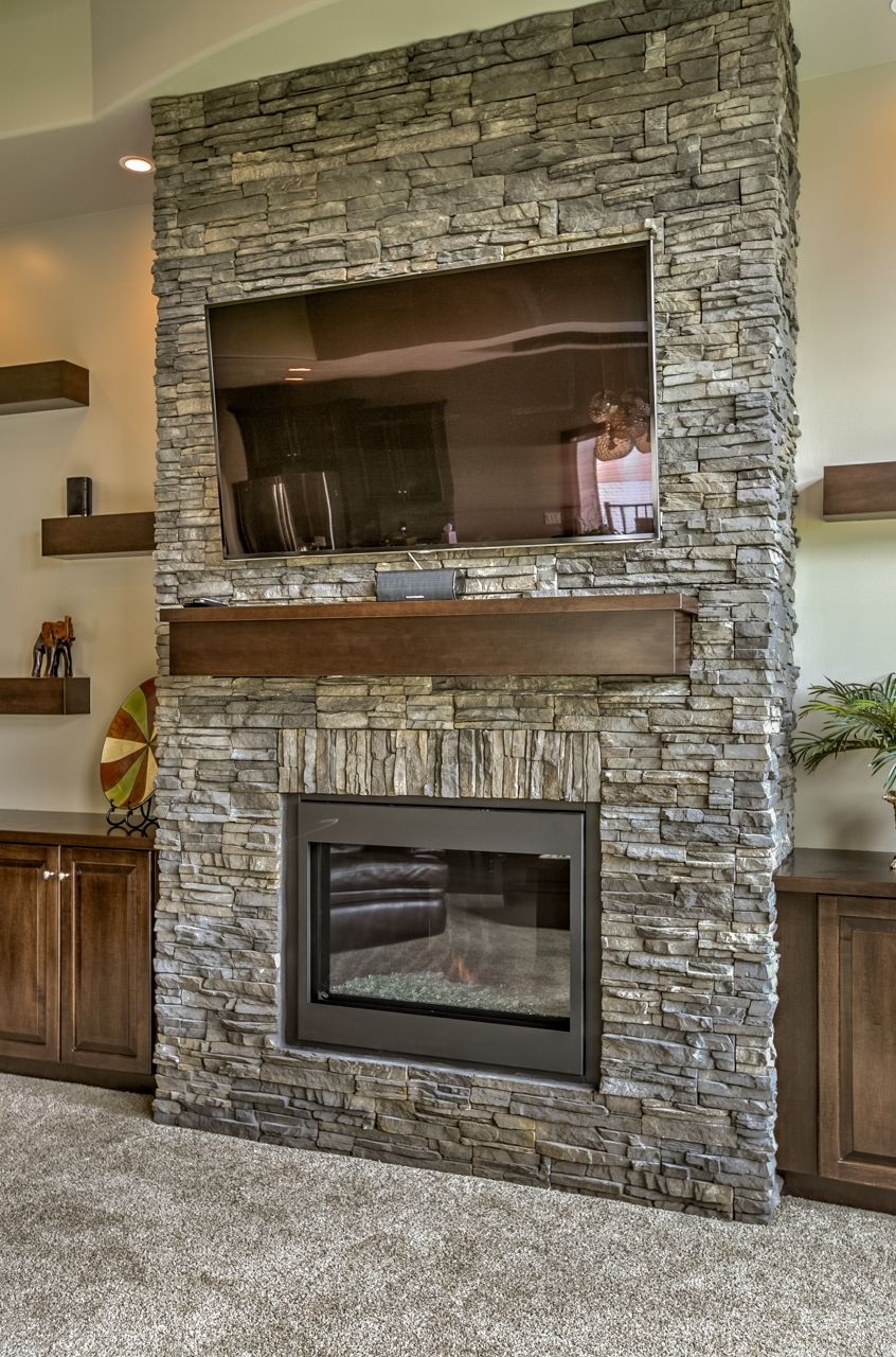 Stone Fireplace In Landmark Performance Home S 1 5 Story