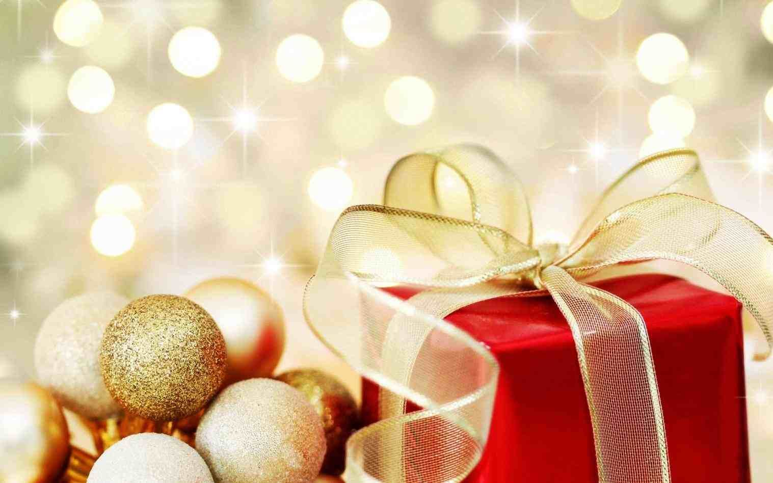 new post gold christmas present background