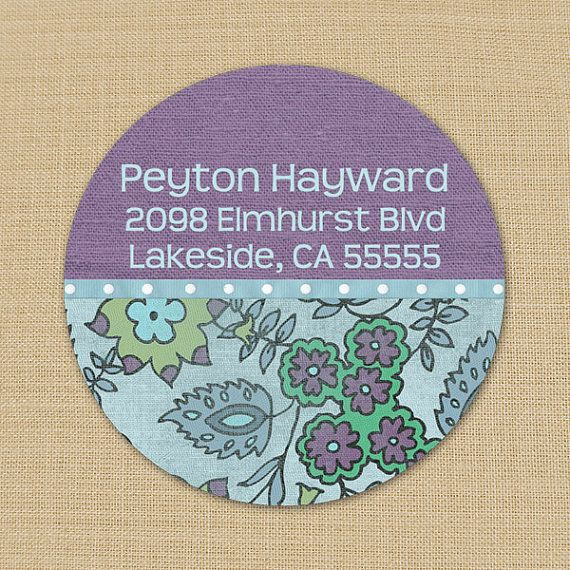 Faded Blue & Purple Floral - Custom Address Labels or Stickers by PoshGirlBoutique
