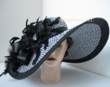 Black White Wide Brim Feather Kentucky Derby Jeweled Flower Hat