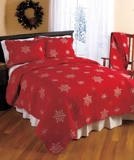 New Red Snowflake Embroidered Quilted Bed Set, Throw, Shams ... : red snowflake quilt - Adamdwight.com