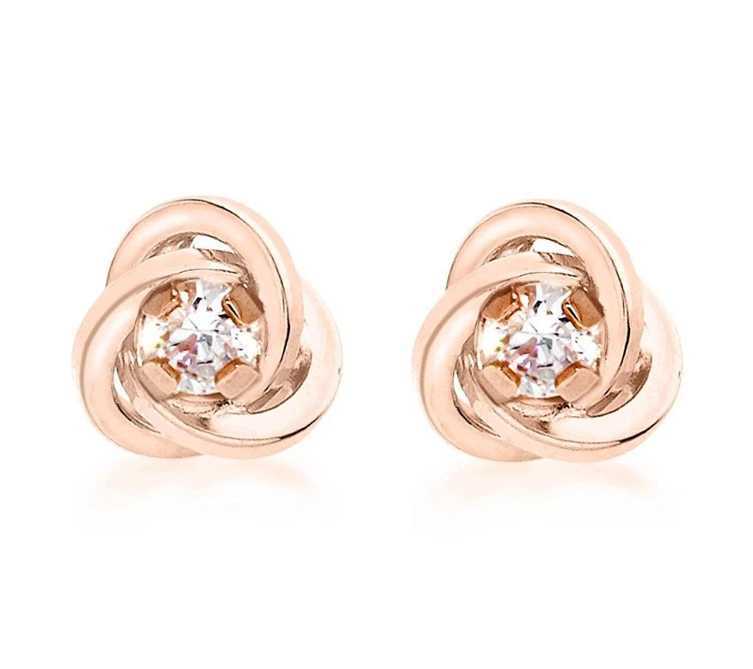 Carissima Gold Women's 9 ct Rose Gold Cubic Zirconia Knot Stud Earrings LUnMTd9Y