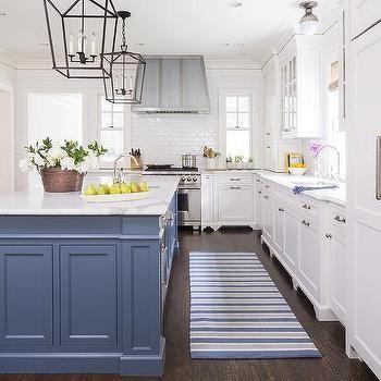 White Farmhouse Kitchen With Blue Island