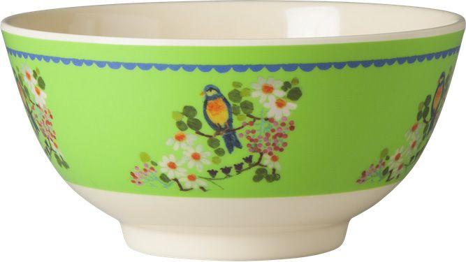 Skål Green Flower Print - Rice - RumAttÄlska.se