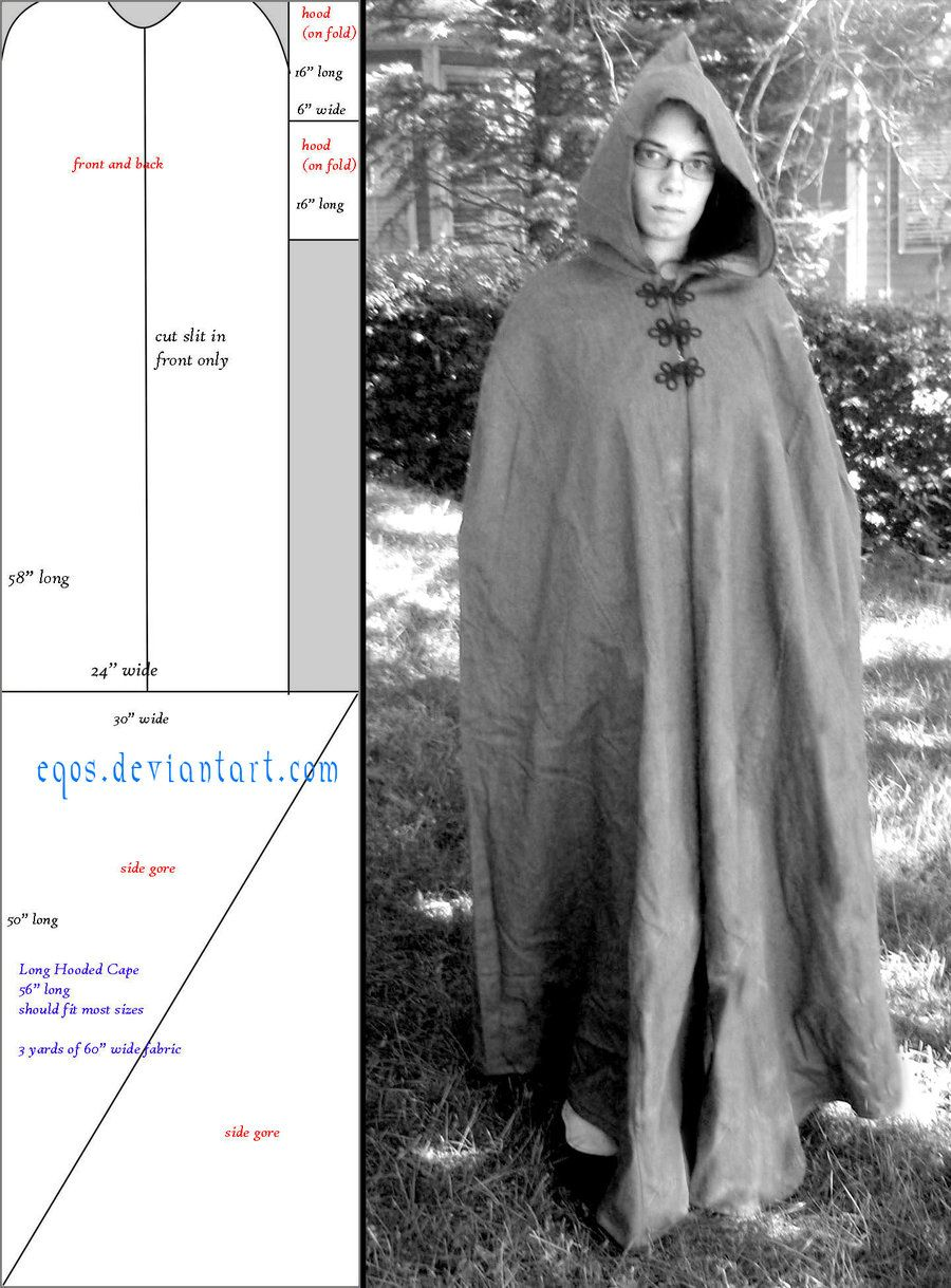 Pattern: long hooded cape by eqos.deviantart.com on @deviantART ...