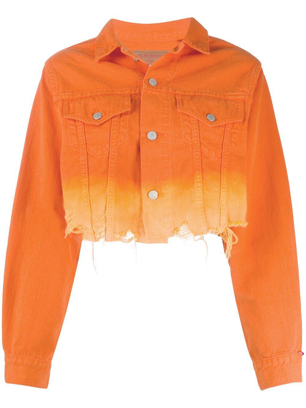 Denimist Gradient Effect Cropped Denim Jacket Farfetch Denim Jacket Jackets Cropped Denim Jacket [ 1334 x 1000 Pixel ]