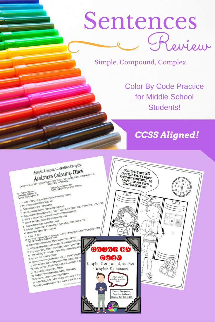 everything kids need to review simple compound complex and complex compound sentences is right here in this fun coloring activity simple sentences
