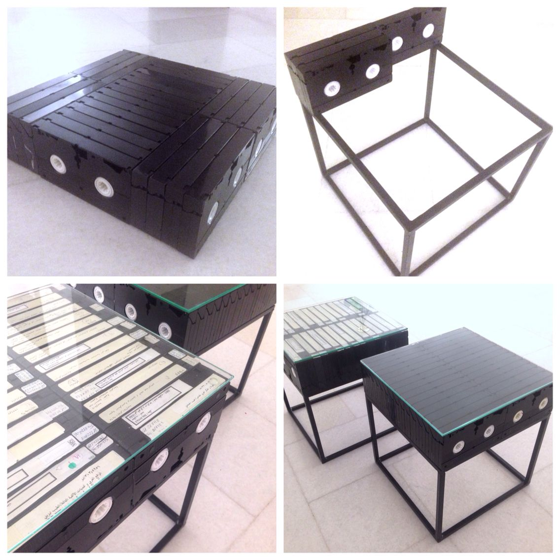 Vhs tapes and steel coffee table