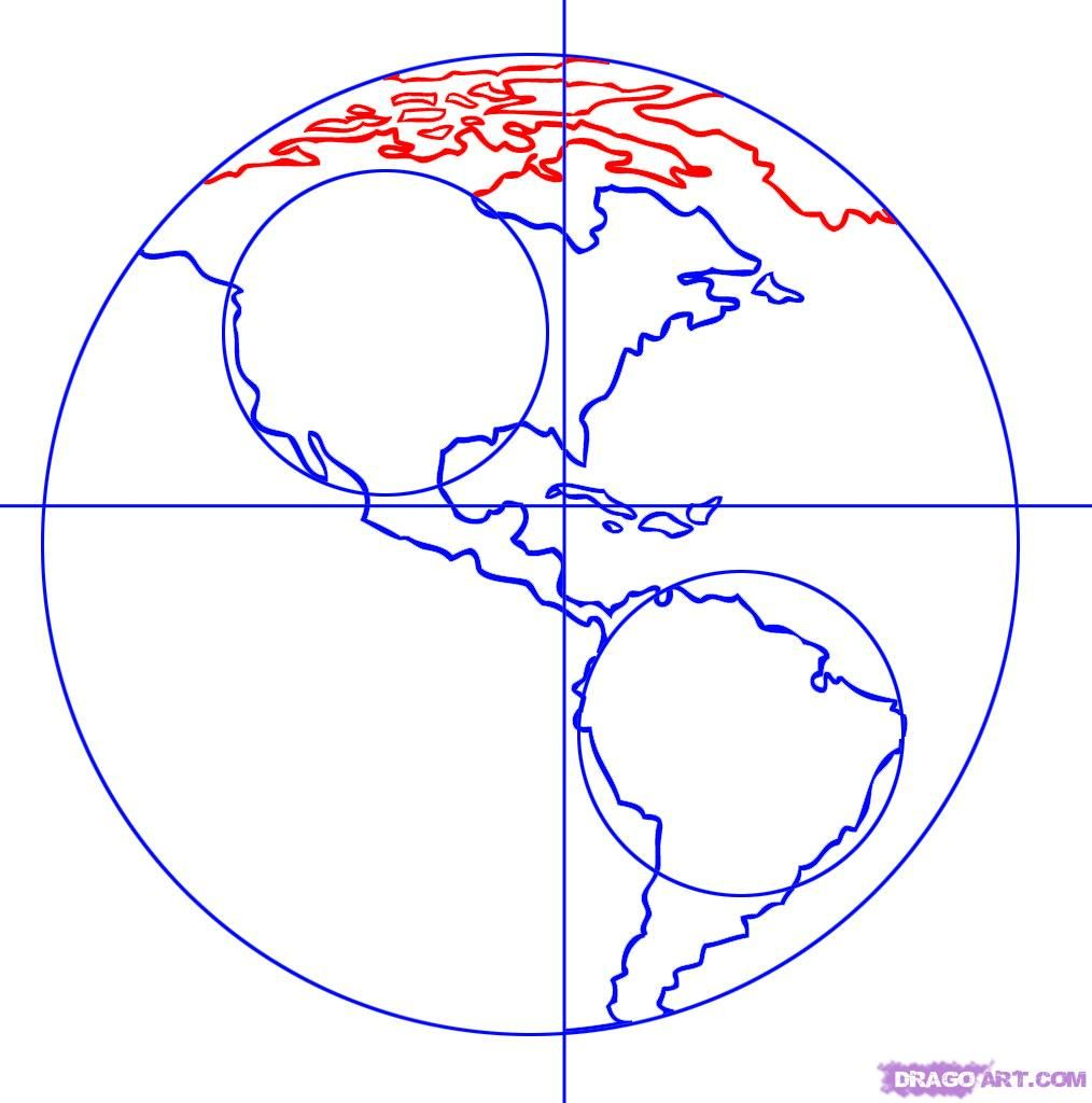 How To Draw Earth Step By Step Outer Space Landmarks Places Free Online Drawing Tutorial Added By Dawn July 23 2 Earth Drawings Globe Drawing Drawings