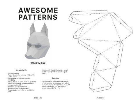 Image result for 3d cardboard mask template