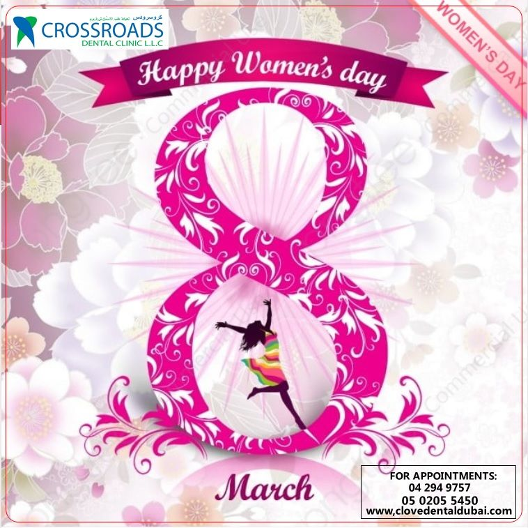 Happy Women's day to all the women out there! Thanks for being the joy of every home and every heart! <3 GREETINGS FROM CROSSROADS DENTAL CLINIC! :) ----- #clovedentalclinic #dentist #dentalcare #dentalclinic #beautifulsmile #veener #invisalign #bestcavitydoctors #dxbdentistry #happy #patient #inofficeteethwhitening #homewhitening #whiteningtrays #Spreadingsmileandlove #oralhealth #brightersmile #healthiersmile #smile