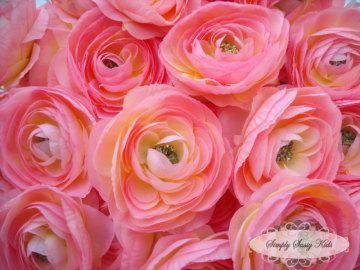 2 pcs Light Pink Silky Soft Ranunculus Artificial Flower Heads Color 3.5in DIY Bouquets Arrangements Hair Clips Wedding. $2.75, via Etsy.