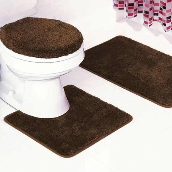 Frieze Piece Bathroom Rug Set Overstockcom Shopping The - Turquoise and brown bathroom rugs for bathroom decorating ideas
