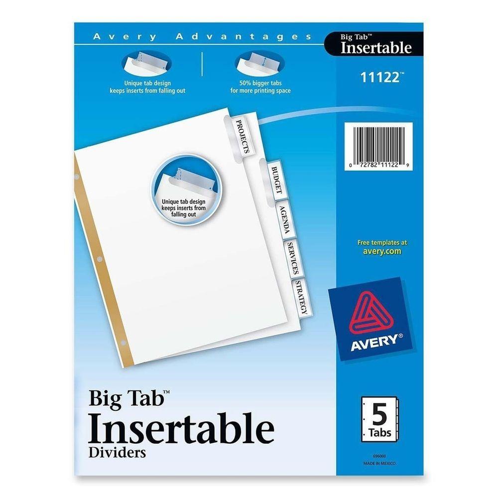Avery Worksaver Big Tab Insertable Dividers 5 Tab 1 Set 11122