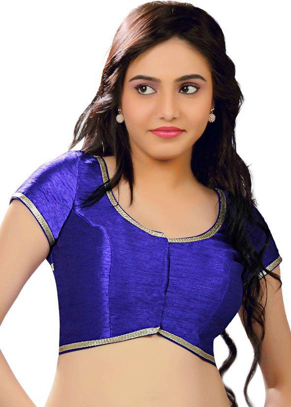 Choli Navy Blue Dupion Silk /& Short Sleeves Blouse Ready to Wear Blouse Indian Saree Blouse Ready made Saree Blouse Sari Blouse