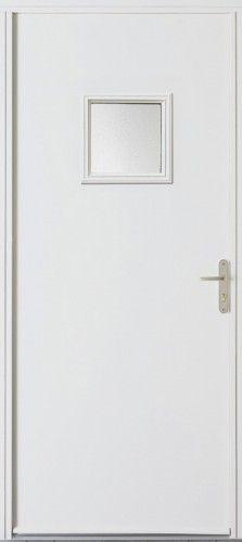 Porte acier, Porte entree, Porte service, Poignee plaque couleur argent, Petit vitrage, Double vitrage sable, PSA 5