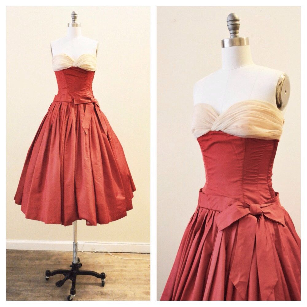 Vintage 1950's  Dark Red Silk Taffeta Tea Length Party Dress with tan/nude bodice by MirandasBridal on Etsy https://www.etsy.com/listing/189580775/vintage-1950s-dark-red-silk-taffeta-tea