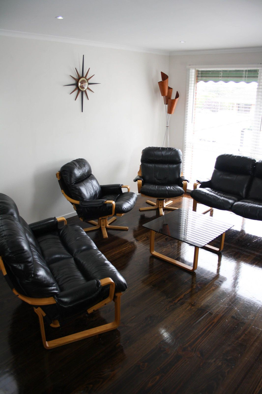 Piece lounge suite sofa swivel armchairs x 2 coffee table 2 x 2 seater couchs black leather victorian ash veneer vic ebay 360 modern furniture