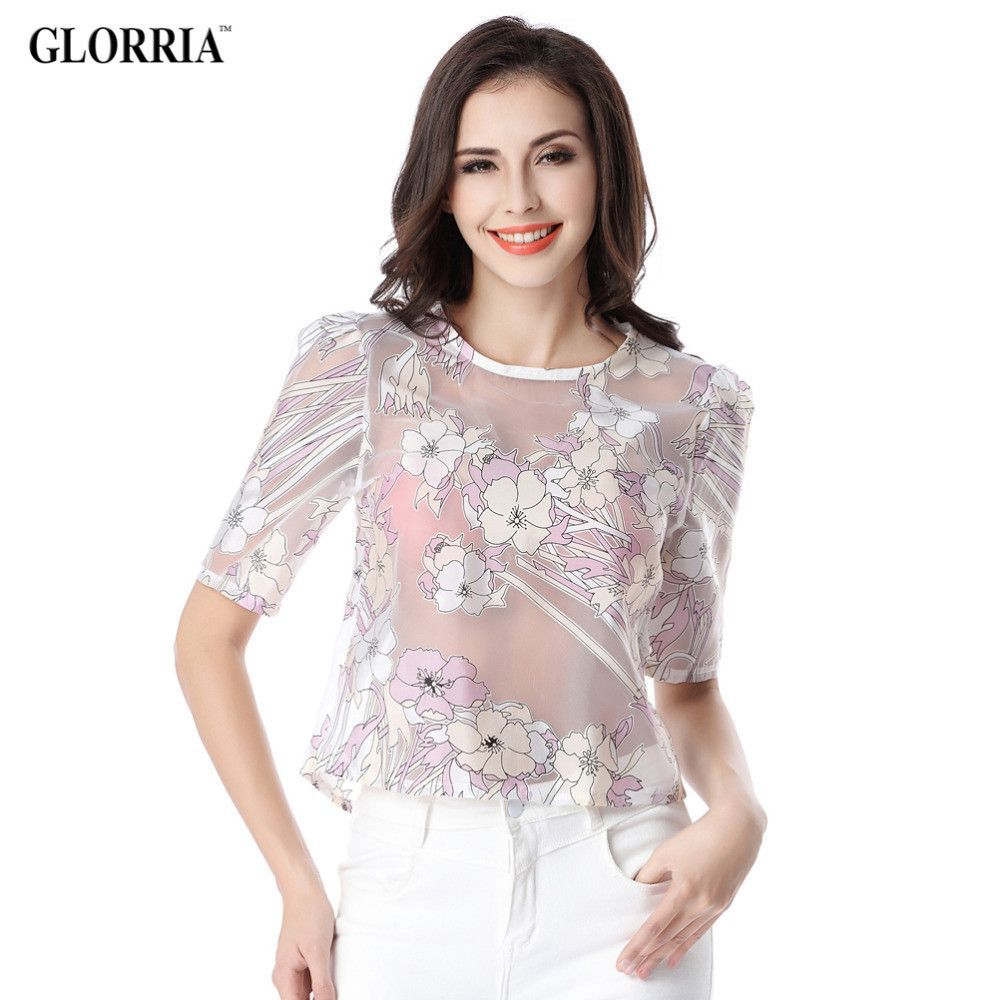 Women Thin Semi-transparent Floral Print Organza Blouses Summer Casual Fashion Sexy O-Neck Short Tops