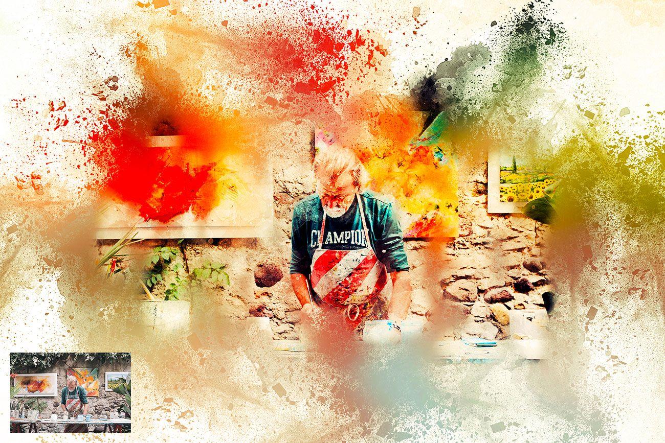 Watercolor Rangoli Dust Photoshop Action Photoshop Actions For