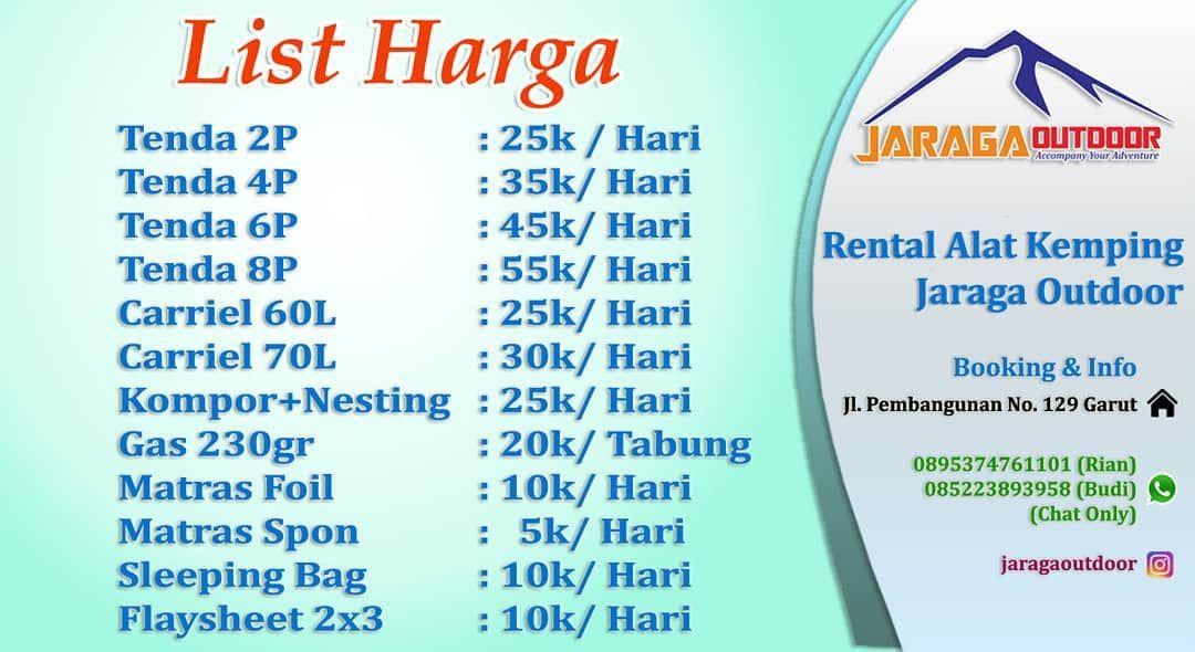 Jaraga Outdoor Booking Info Alamat Jl Pembangunan No 129 Garut Sebrang Man 2 Garut Whatsapp Chat Only 08522389395 Personalized Items Person Camping