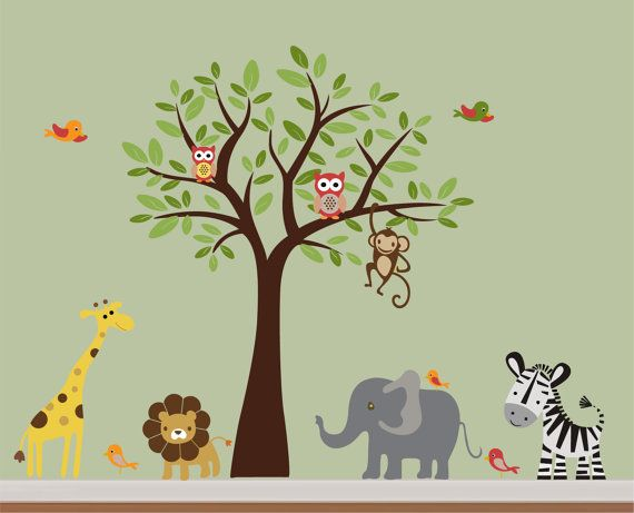 Colorfull Kids Safari Nursery Jungle Wall Decal   Tree,Monkey,Elephant,Giraffe,