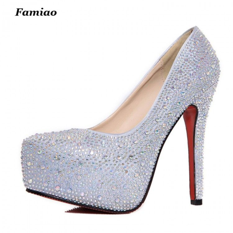 FAMIAO women high heels prom wedding shoes lady crystal platforms silver  Glitter rhinestone bridal shoes thin 87bdc788207d