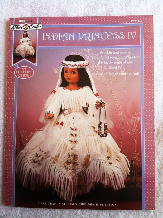 Native American Crochet Doll Clothes Pattern for 15 Fashion Doll by Fibre Craft ... FCM 446 ... Indian Princess IV ... Wedding Dress #indianbeddoll